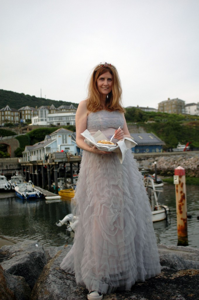 Alison Jane Eats Crab and Chips with a view of Ventnor Haven, on the Isle of Wight