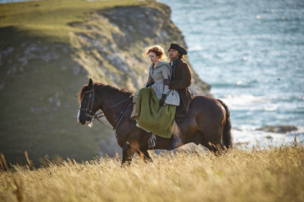 Ross and Demelza riding his beloved horse along the Cornish cliffs