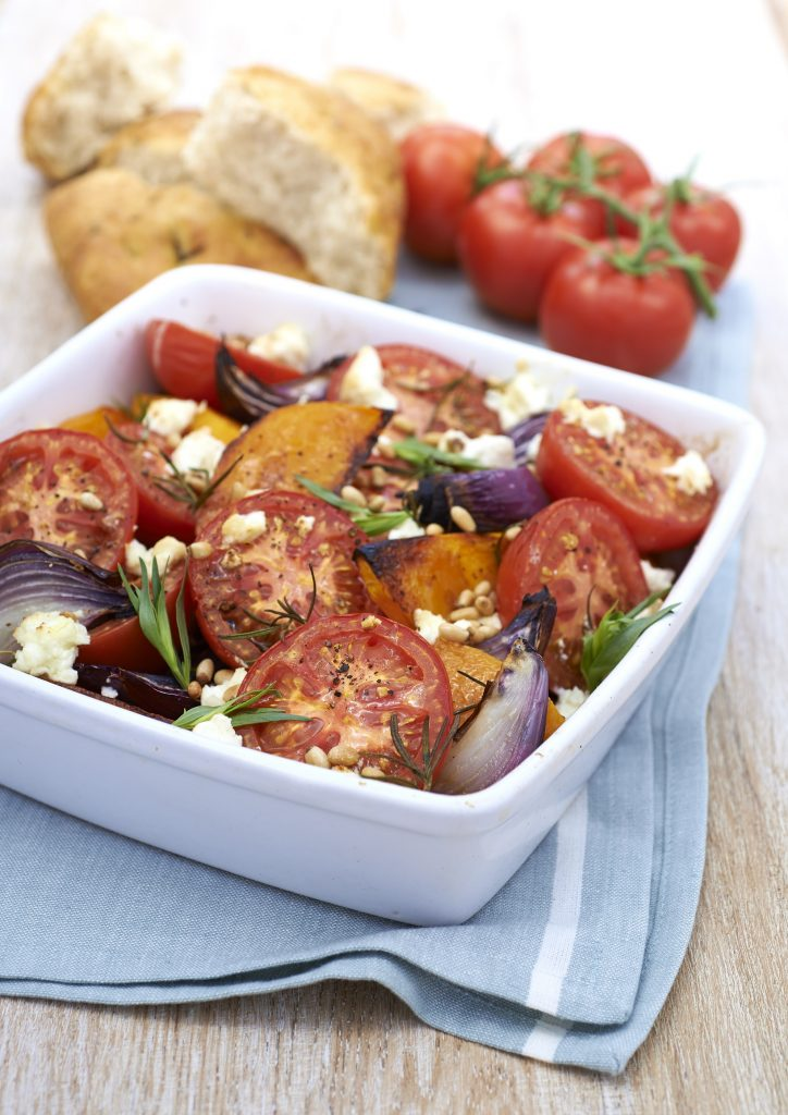 Roasted butternut squash, with Isle of Wight, Tomato Stall Tomatoes, Artisan Feta and Pinenuts - yum!