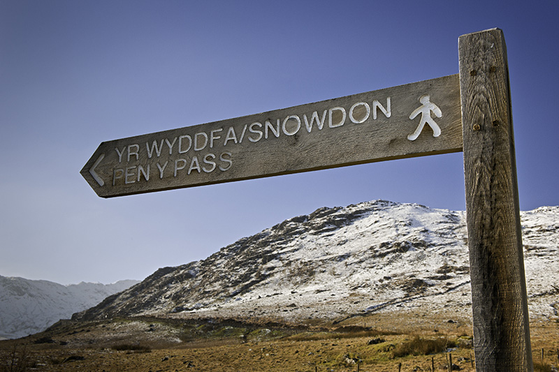 Footpath sign to Pen-y-Pass and Snowdon Snowdonia Llanberis Gwynedd North Walking Signs