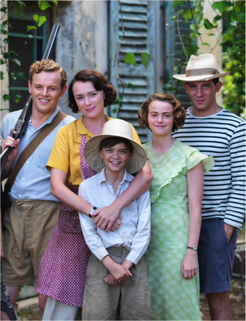 The Durrells on ITV, Starring Left to Right, Callum Woodhouse, Keeley Hawes, Milo Parker, Josh O'Connor and Daisy Waterstone