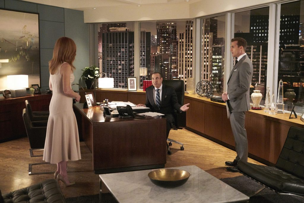 Suits - The Violin Episode, with Sarah Rafferty as Donna, Rick Hoffman as Lewis Litt and Gabriel Macht as Harvey Specter