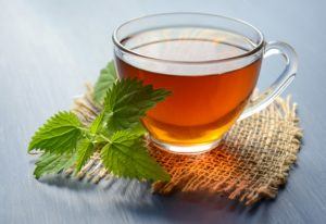 A cup of relaxing mint tea.