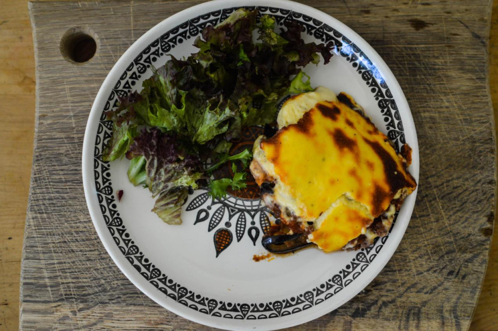 A hybrid meal of wild grouse and moussaka.