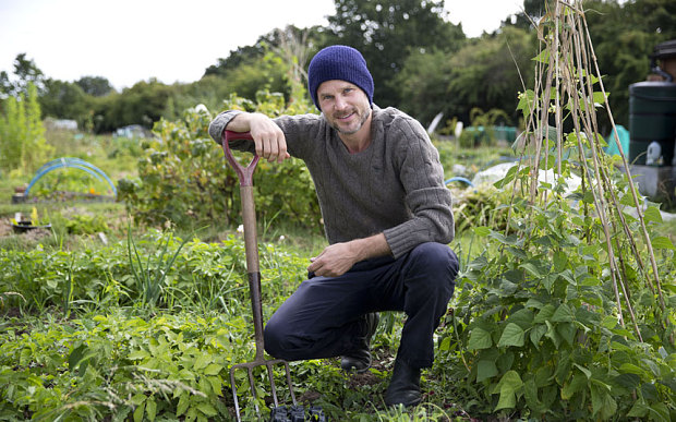 Noah Huntley at his allotment in the English countryside