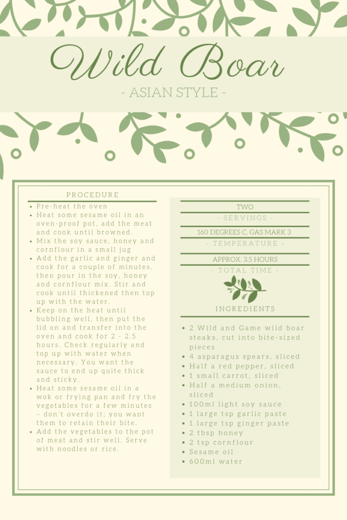 Recipe card for wild boar cooked in soy and ginger.