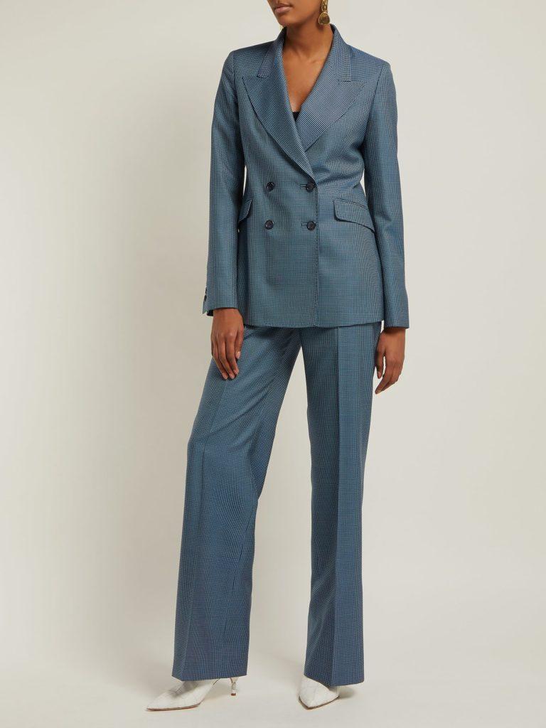 Gabriela Hearst Vesta Checked High-Rise Wool-Blend Trousers