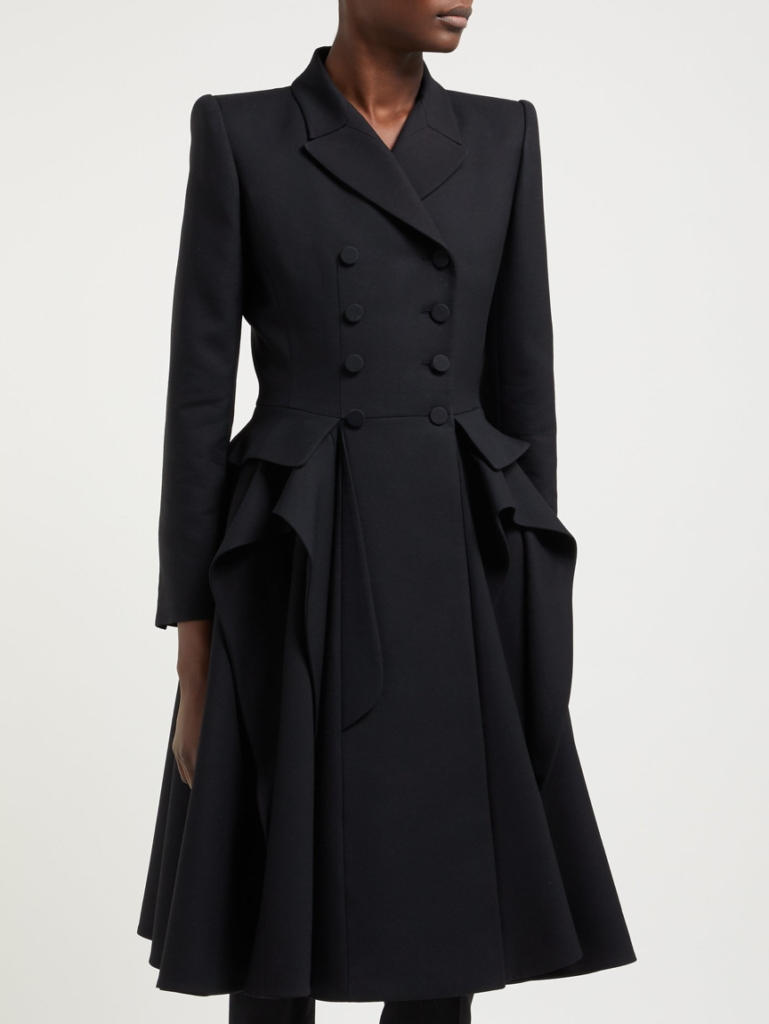 Alexander McQueen Forever Ruffle Double-Breasted Wool and Silk-Blend Coat