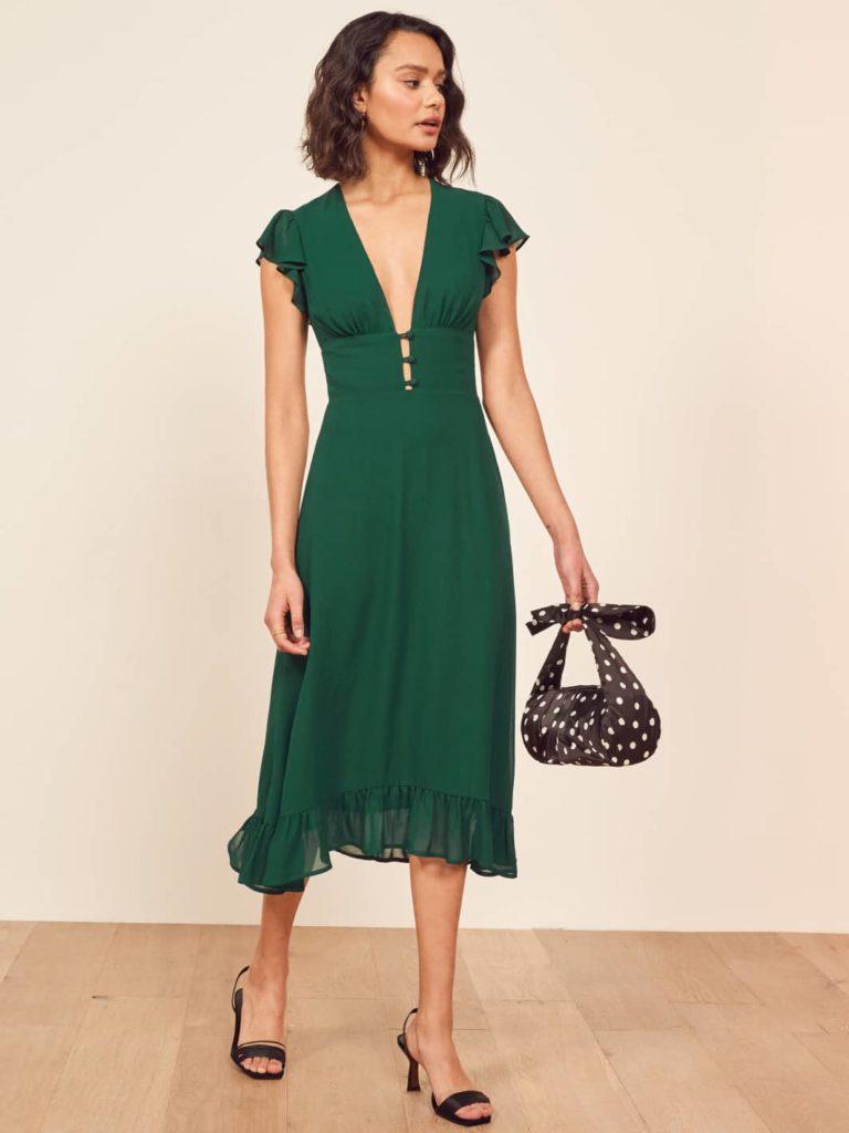 Reformation Emerald Green Riegan Dress