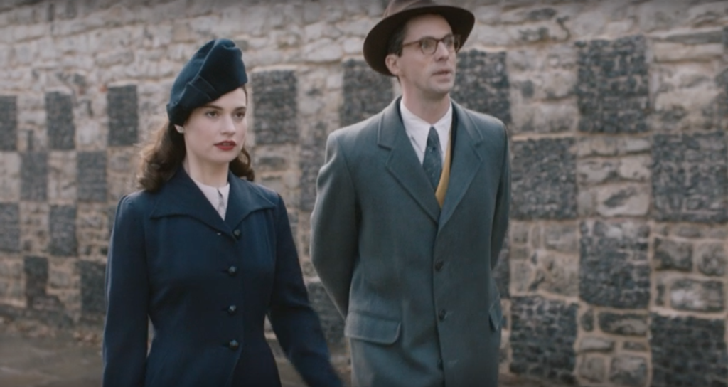Lily James and Matthew Good in the Guernsey Literary and Potato Peel Pie Society