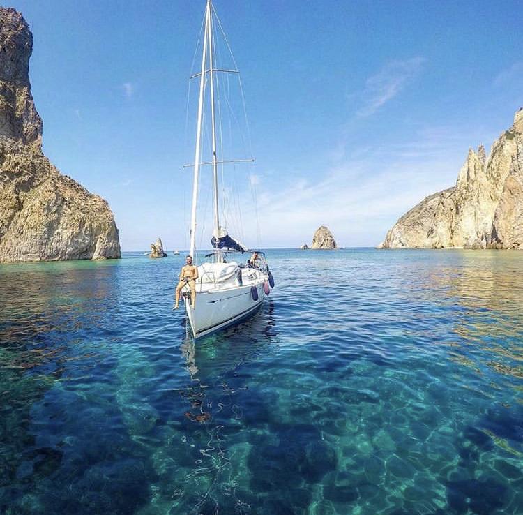 Sailing the Tyrrhenian Coast of Italy, close to Sperlonga