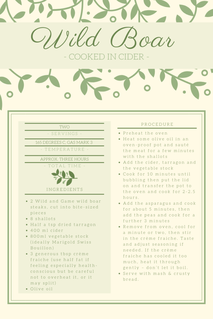 Recipe card for wild boar cooked in cider.