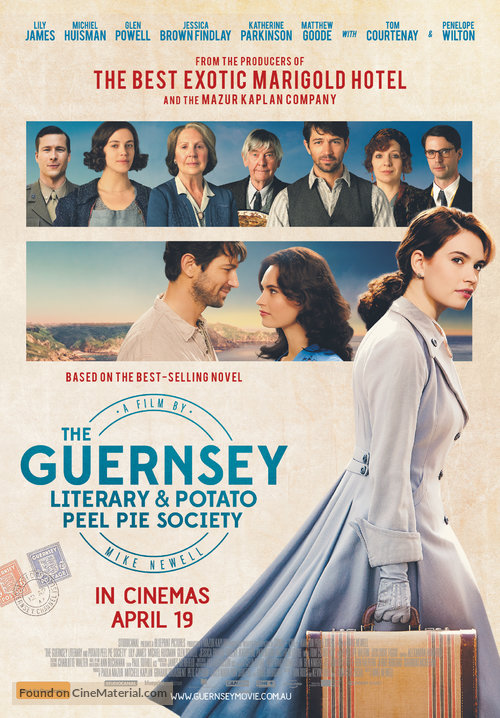 Film Poster for The Guernsey Literary and Potato Peel Pie Society Starring Lily James and Michiel Huisman