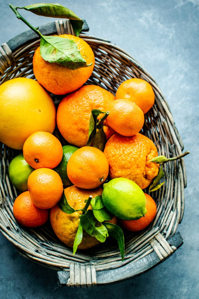 Basket of citrus fruits including oranges. Picture by Rawpixel