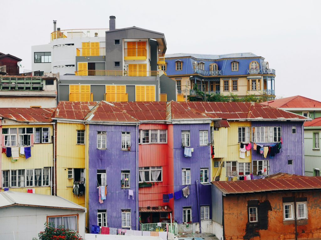 Colourful painted houses by Olivier Chatel