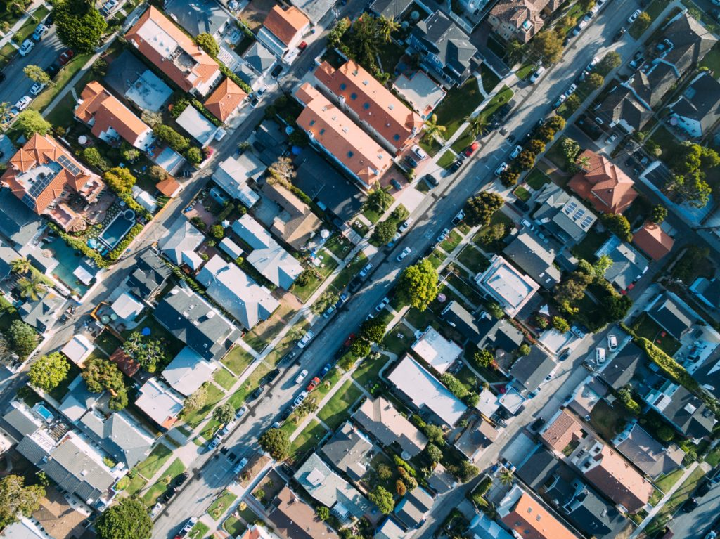 An aerial view of houses. Picture by Paul Hanaoka