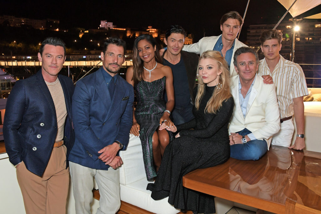 Alejandro Agag with Naomie Harris, Rick Yune and Team Jaguar guests Luke Evans, David Gandy, Natalie Dormer, Oliver Cheshire, and Toby Huntington-Whiteley