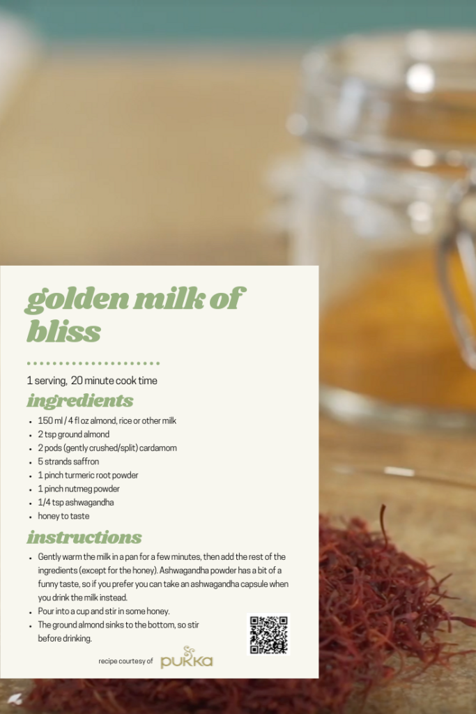 A graphic for Pukka's Golden Milk of Bliss Recipe with ingredients and instructions. Designed by Gwynnie Duesbery, 2019.