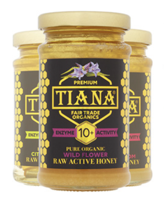 The three flavours, Wild Mountain flower, Citrus blossom, and Cherry Blossom, of Enzyme Activity honey from Tiana Fair Trade Organics.