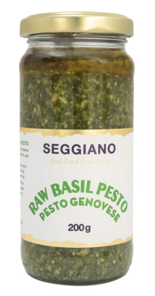 A jar of Raw Basil Pesto from Seggiano's.