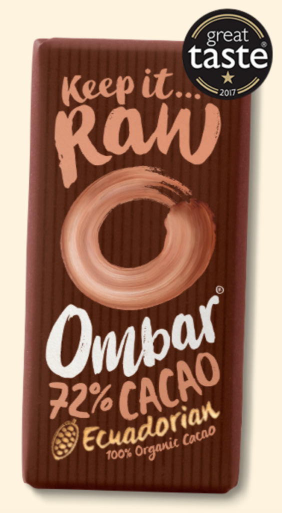 A product shot of Ombar's 72% Raw Cacao Bar.