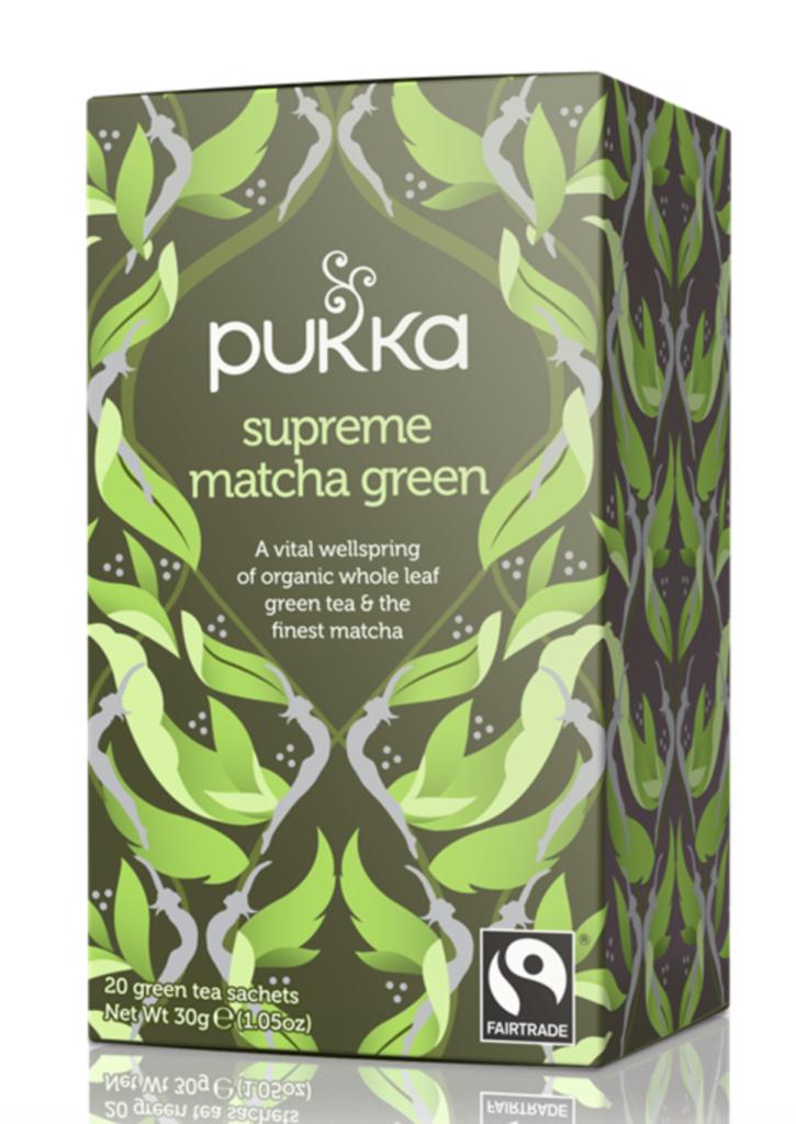 A box of Pukka Herbs' Supreme Matcha Green Tea.