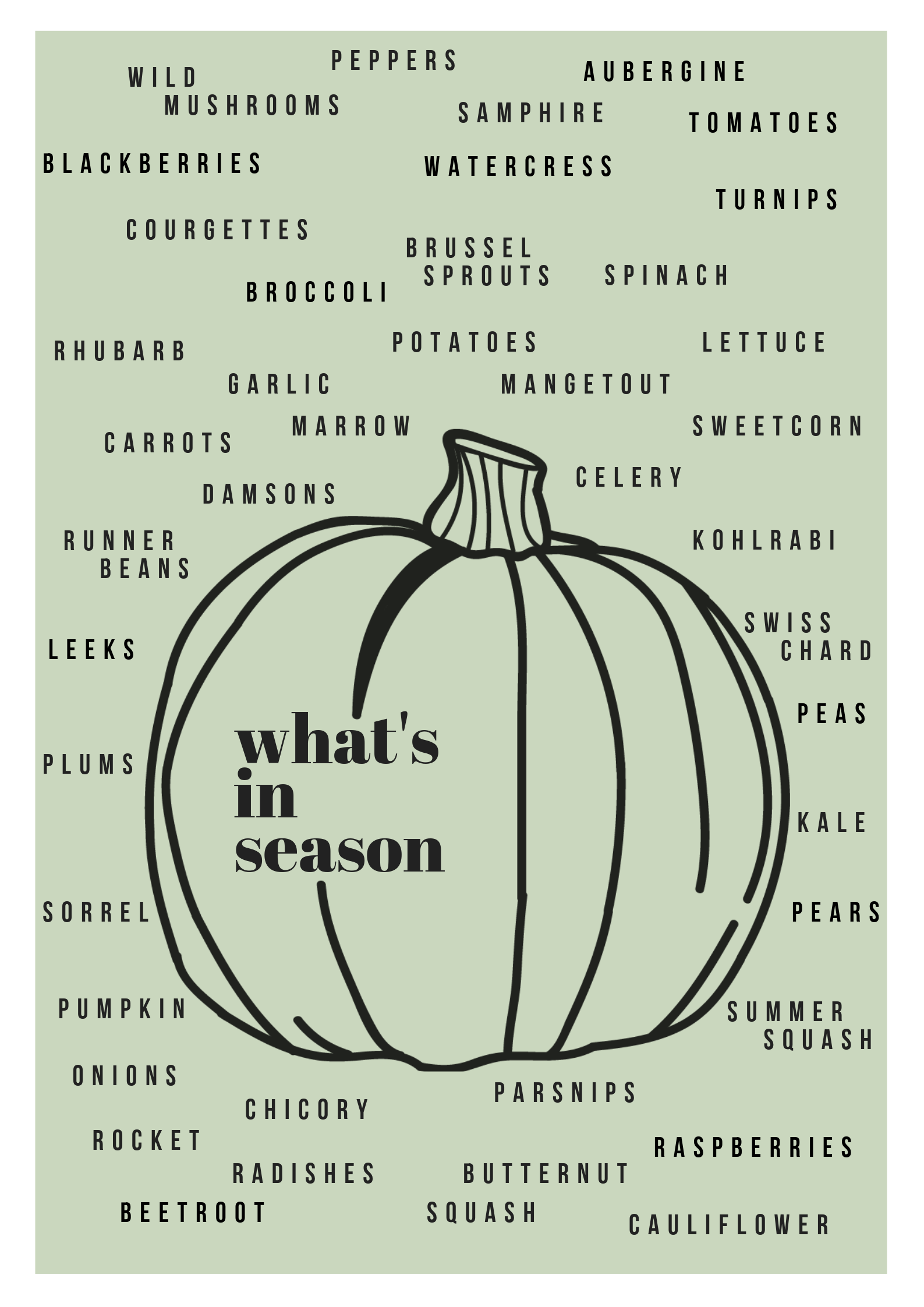 A poster conveying what fruits and vegetables are currently in season this September/October with an illustrated pumpkin as the background for the list of produce. Designed by Gwynnie Duesbery, 2019.