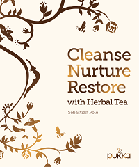 The cover of co-founder of Pukka and Master Herbalist, Sebastian Pole's book, 'Cleanse Nurture Restore with Herbal Tea'. Photography by Kim Lightbody, published by Frances Lincoln.